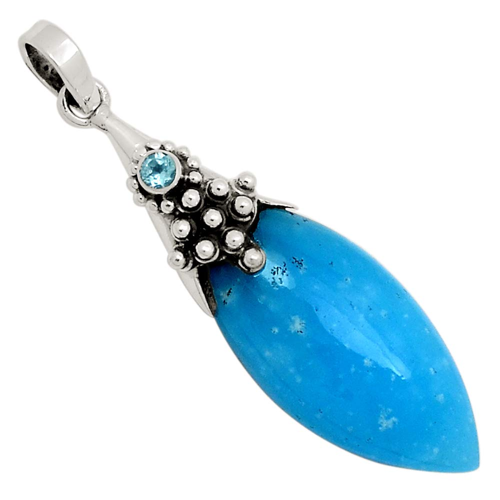 Xtremegems Smithsonite /& Blue Topaz 925 Silver Pendant Jewelry 2 25144P