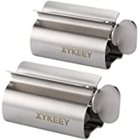 Toothpaste Tube Squeezer - Set of 2 Toothpaste Squeezer Rollers, Metal Toothpaste Tube Wringer Seat Holder Stand XYKEEY