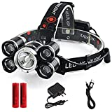 LED Headlamp, Loyalfire 10000 Lumens 5 Headlamp Bright Light Headlight Flashlight 4 Modes XML-T6 LED with Red Light 18650 Rechargeable and Waterproof Switch, for Camping/Travel / Adventure/Running