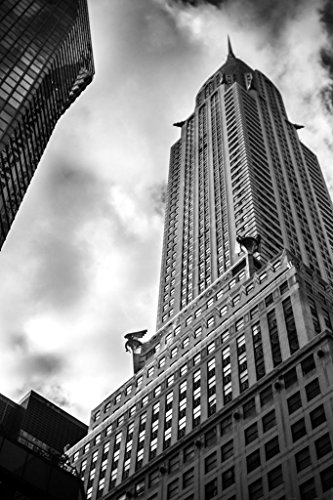 Striking View of Chrysler Building with Dramatic Sky Black and White Photo Photograph Cool Wall Decor Art Print Poster 24x36