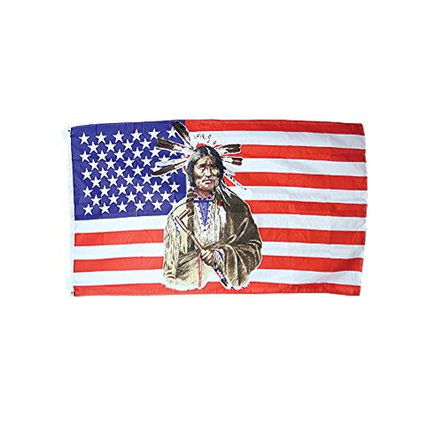 USA Native American Flag Standing Indian United States of America Patriotic