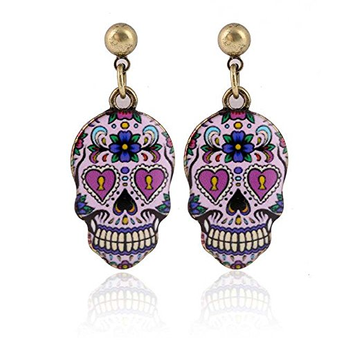 [Darkey Wang Woman Fashion Pink Skull Halloween Exaggerated Earrings] (Halloween Costumes Rentals Dallas)