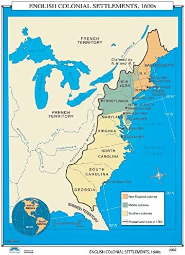 Map Of Us Colonies Amazon.com: Universal Map 30020 007 English Colonial Settlements