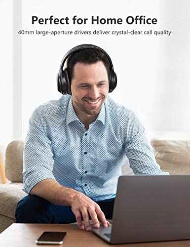 Active Noise Cancelling Headphones, Wireless Headphones Bluetooth Headphones with Mic, BesDio Over Ear Headphones with Quick Charge, Bluetooth 5.0 Deep Bass, 30H Playtime for Online Class Home Work PC 519Wf6ZKIFL