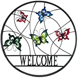 Backyard Expressions 906674 Decorative Outdoor Welcome Wheel Wall Art Sign, Butterfly
