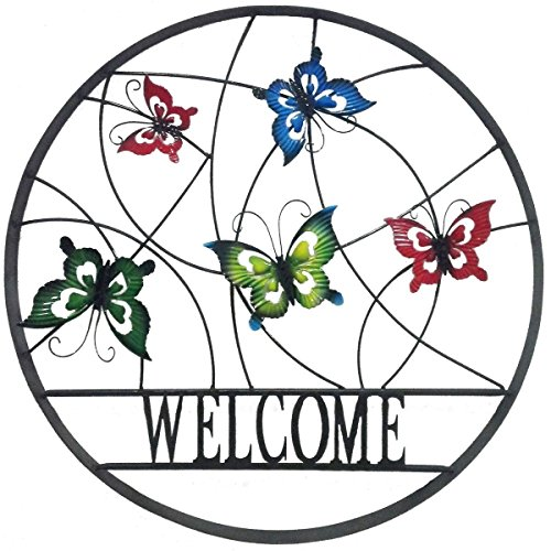 BACKYARD EXPRESSIONS PATIO · HOME · GARDEN 906674 Decorative Outdoor Butterfly Welcome Wheel Art Wall Sign