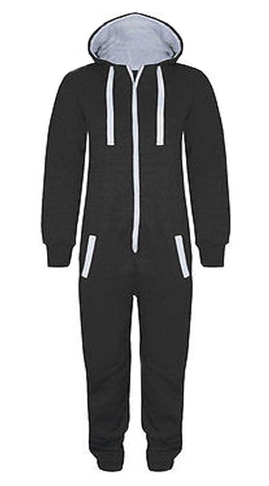 Bambini Ragazzi Ragazze Unisex Plain Body con Cappuccio in Un Jumpsuit Misure 7/ /14/Jahre Black /& Grigio