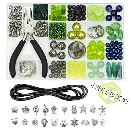 Tres Chic Jewelry Making Supplies Kit - Unique Beads, Stylish Charms, eBook with Step-by-Step Craft DIY. Perfect Starter Set for Adults, Girls, Teens, Beginners. Includes Pliers, Wire, Findings, Cord. from AjW Products