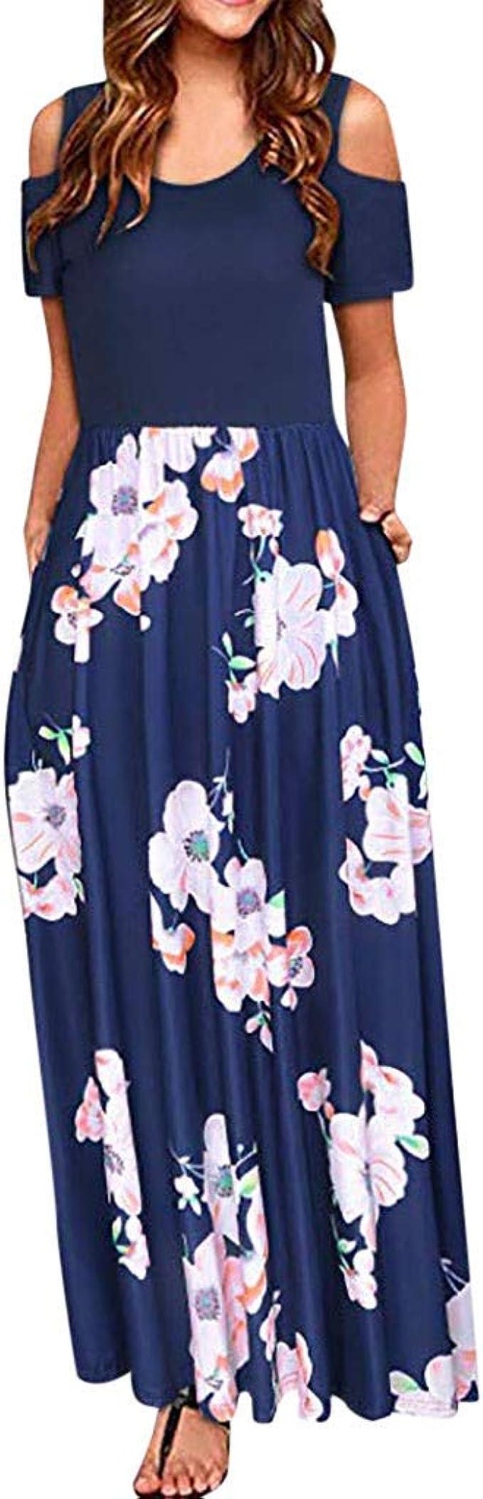 Zegeey Damen Kleid Sommer Kurzarm Schulterfrei Einfarbig Sommermode Sale  Blumenkleid Maxi Kleid A-Linie Kleider Vintage Elegant Frühling LäSsige