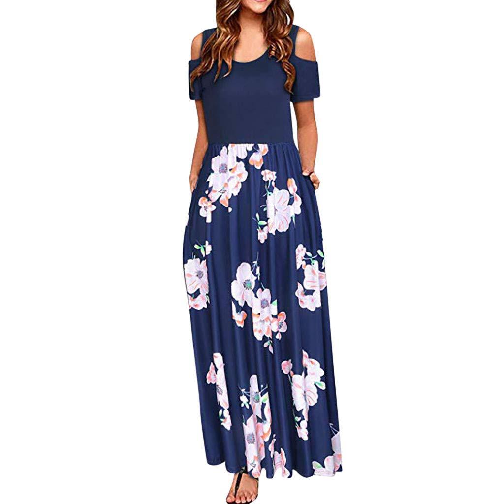 HULKAY Cold Shoulder Dresses for Women丨Summer Off Shoulder Short Sleeve Floral Print Maxi Dress丨Womens Casual Long Dress