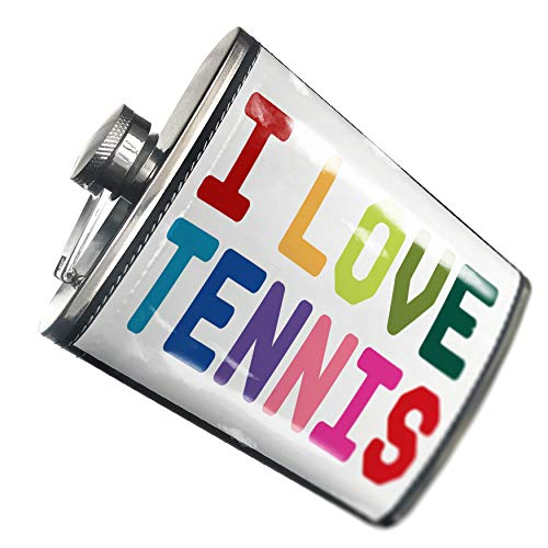 NEONBLOND Flask I Love Tennis,Colorful Hip Flask PU Leather Stainless Steel Wrapped