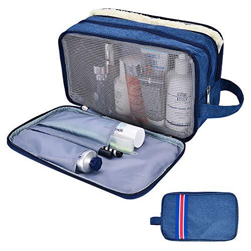 ZOORON Toiletry Bag for Men or Women, Travel Large Dopp Kit Portable Shaving Wash Bags Toiletries Organizer Dark Blue