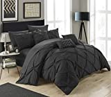 Purple and Black Bedroom Set Chic Home 10 Piece Hannah Pinch Pleated, ruffled and pleated complete Queen Bed In a Bag Comforter Set Black With sheet set