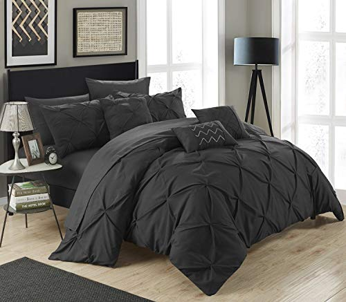 (Chic Home 10 Piece Hannah Pinch Pleated, ruffled and pleated complete Queen Bed In a Bag Comforter Set Black With sheet)