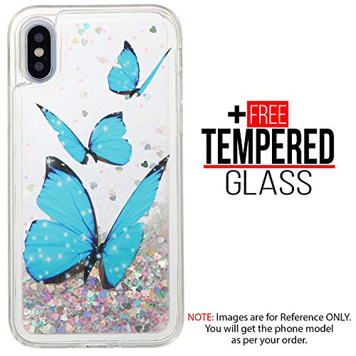 BisLinks Luxury Liquid Glitter Case Sparkle Bling Moving Stars Pattern Painted Cover Soft TPU Silicone Shockproof Protective for iPhone XR - Butterfly + 1 Free Tempered Glass ()