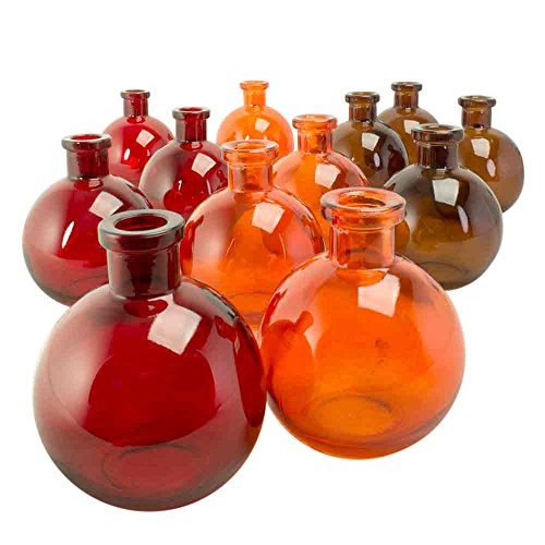 Round Food Safe Glass Bottles and Bud Vase Jars, 4.25 (Shaped Bud Vase)
