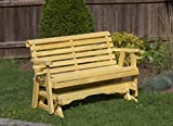 Amish Heavy Duty 800 Lb Roll Back Pressure Treated Porch Patio Garden Lawn Outdoor GLIDER with cup holders-4 Feet-GOLD-Made in USA