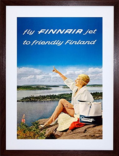 - 9x7 '' FINNAIR Finland Scenic Lake Airline Vintage Framed Art Print F97X1374