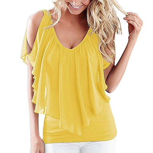 〓COOlCCI〓Women Summer Irregular Chiffon Blouses Off Shoulder Shirts Tops T-Shirts Casual Tees Yellow (T-shirts Life Good Is Stores)