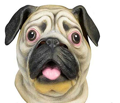[Adan Special New Latex Full Head Overhead Animal Cute Bulldog Mask for halloween,Mask Festival,easter or Dance Party] (Dear Animal Costume)