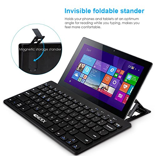 Multi-Devices Ultra-Slim Bluetooth keyboard with foldable magnetic stander for Android windows iOS , Design for PC Tablet Smartphone, black by Ldex (Image #1)