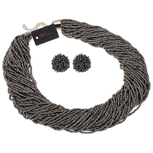 (Fashion Multilayer Seed Bead Chain Choker Collar Necklace Earrings Set Cluster Strand Handmade Bib Statement Necklace (Jewelry Set Grey))