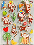 It's a Circus Out There ~ It's a Jungle! Animal Party Goods ~ Birthday Gift Bags ~ Baby Shower Giant Sack ~ Snack Containers, Hand Puppet, & Stickers (18 Dimensional Monkey Stickers)
