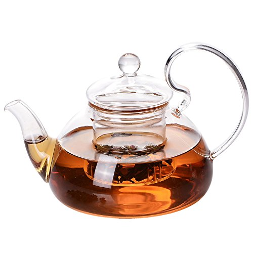 (Glass Tea Pot Set - Loose Leaf Tea Pot with Infuser and Lid - Teapot with Strainer - Tea maker 24 oz )