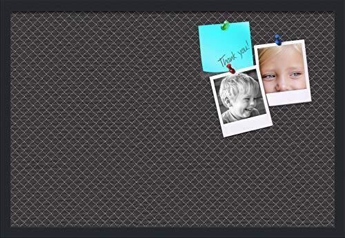 PinPix ArtToFrames 30x20 Inch Custom Cork Bulletin Board. This Diamond Pattern in Black Pin Board Has a Fabric Style Canvas Finish, Framed in Satin Black (PinPix-120-30x20_FRBW26079)