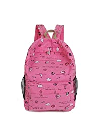 Bessky Fashion Cartoon Printing Women Canvas Backpack Schoolbag