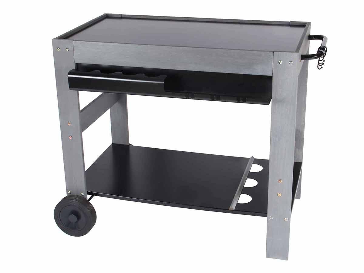 Somagic - Chariot pour plancha bois cérusé et métal Perla - Somagic 3292199692488