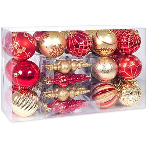 Best Choice Products Set of 40 Handcrafted Assorted Decorative Shatterproof Christmas Ornaments w/Embossed Glitter Design - Red/Gold