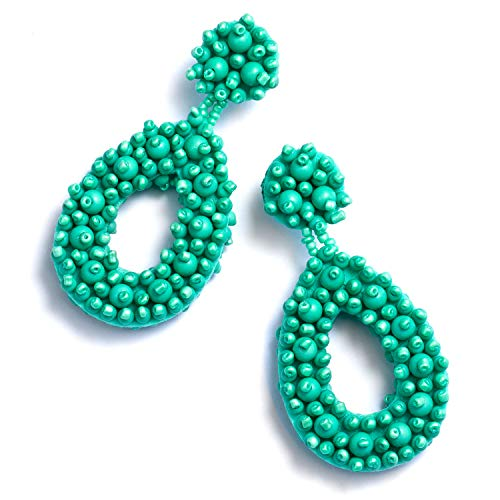 Enameljewelries Handmade Beaded Earrings Bohemian Statement Drop Bead Earrings with Hypoallergenic 925 Silver Post for Women. (E4#Beaded Reseda) - Hobe Beaded Earrings