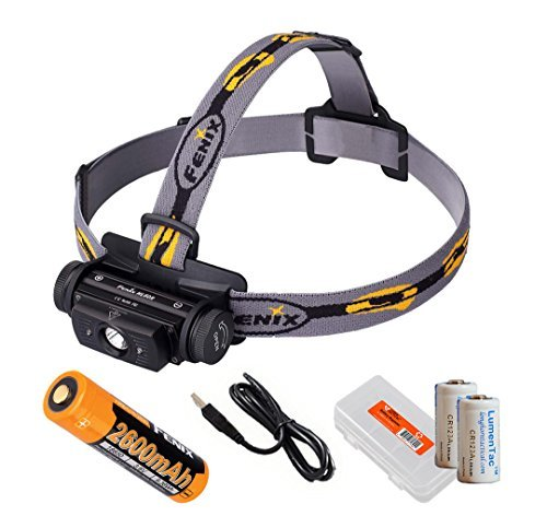 Fenix HL60R 950 Lumens Rechargeable LED Headlamp with Rechargeable Battery, USB Charging cable and LumenTac Organizer and Backup CR123As (Phoenix 3 Light Single)