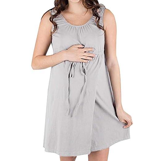902be5c6e4a1f BSGSH Womens Maternity/Nursing Tank Dress Pregnancy Gown Hospital  Breastfeeding Nightgown (S, Gray