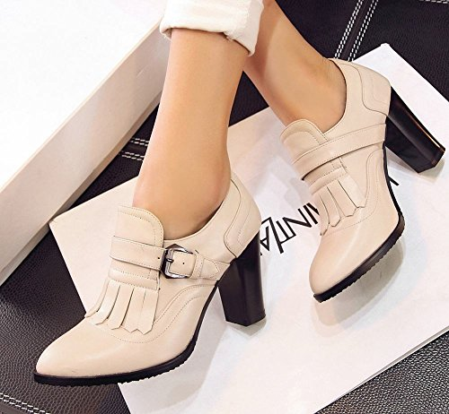 Carolbar Womens Retro Buckle Tassles Pointed Toe Fashion Chunky High Heel Ankle Boots Beige LfVOHEc32