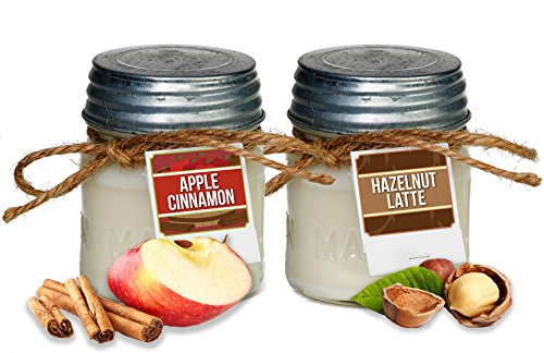Aira Soy Candles - Organic, Kosher, Vegan in Mason Jar w/ Therapeutic Grade Essential Oils - Hand-poured 100% Soy Candle Wax - Paraffin Free - Gift Set - Apple Cinnamon & Hazelnut Latte - 8 Ounce x 2