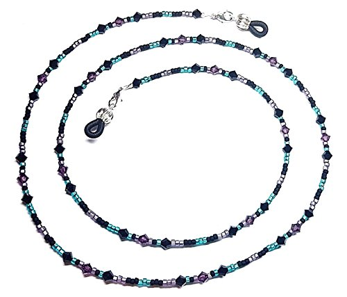 Bead Mix Matte - Austrian Crystal Jet Amethyst Purple/Teal Matte Bead Mix Eyeglass Chain Holder