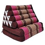 Thai triangular cushion with mattress 2 folds, relaxation, beach, pool, meditation garden Bordeaux/Pink (81402)