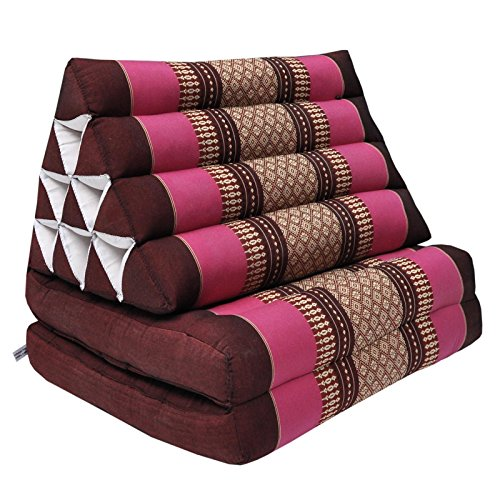 Thai triangular cushion with mattress 2 folds, relaxation, beach, pool, meditation garden Bordeaux/Pink (81402) by Wilai GmbH