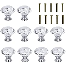 Rbenxia 10 Pcs 30MM Crystal Cabinet Knob Cupboard Drawer Glass Pull Handle Great Shape Crystal Glass Drawer Knobs Pulls for Kitchen, Bathroom 1.3'' White