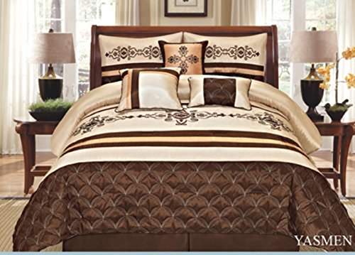 7 Pieces Complete Bedding Ensemble Beige Brown Gold Luxury Embroidery Comforter Set Bed-in-a-bag Queen Size Bedding- Yasmen (Brown Bedding Set)