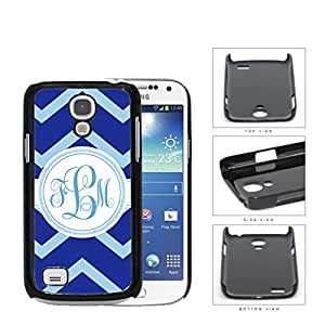 Blue Light Blue Chevron Monogram (Custom Initial) Hard Plastic Snap On Cell Phone Case Samsung Galaxy S4 SIV Mini I9190