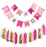 Fascola Birthday Bunting Banners, Golden Garlands Pack with 20 Gold white Pink Fuchsia Tassels for Happy Birthday Decorations (Style 3)