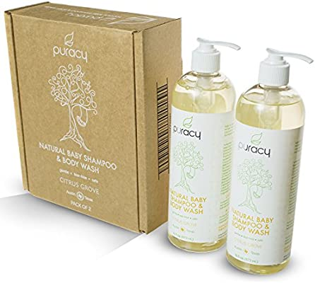 Puracy Natural Baby Shampoo & Body Wash, Tear-Free Soap, Sulfate-Free, 16 Ounce (2-Pack)