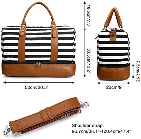 Newshows Women Weekender Bag Canvas Travel Duffel Bag Overnight Carry On Tote Bag with Luggage Sleeve