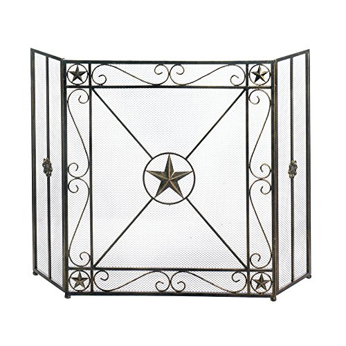 Accent Plus Decorative Fireplace Screens, Western Antique Iron Screen For Fireplace by Accent Plus