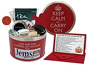 Keep Calm & Carry On Survival Kit In A Can. Humorous Novelty Fun Gift - Present & Card All In One. Birthday/Christmas/Retirement/Boss/Work Colleague/Good Luck/Leaving/Mum To Be/Dad To Be/New Baby/New Parents/Father's Day/Mother's Day/Valentine's Day/Graduation/New Home/Engagement/Wedding/New Job/Best Man/Bridesmaid/Anniversary. by Survival Kit In A Can
