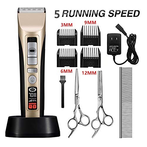 Dog Grooming Clippers 5-Speed Professional Cordless Pet Hair Clippers Trimmer Kit Heavy Duty,Low Noise Rechargeable Electric Cat Grooming Tools for Thick Coats,Large Dogs with Intelligent LCD Reminder