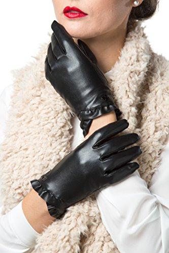 Gallery Seven Women's Winter Gloves Warm Touchscreen Driving Texting Ladies Gloves - Black - Flower Design - Medium by Gallery Seven